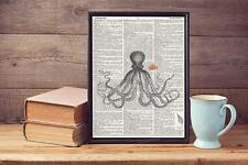 Old Octopus Sketch Nemo Recycled Upcycled Vintage Dictionary Page Art Print A4