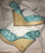 BETSEY JOHNSON MADISON Wedge  ESPADRILLES H4013/TURQUOISE BLUE/SIZE 6.5 NWT $89