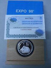 Año 1998. 1000 Pesetas Plata. Peso 13,50 gr. Exposición Universal Lisboa 1998