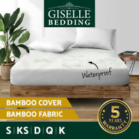 Giselle Waterproof Mattress Protector Queen Bamboo Cotton Cover Fitted All Sizes