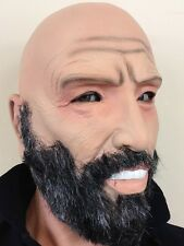 Old Man Mask Grey Beard Bald Head Grandad Grandpa Git Latex Fancy Dress