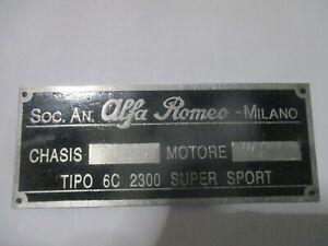 Alfa Romeo Nameplate 6C 2300 6C2300 6 C Super Sport Plaque Targa