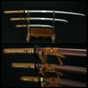 HIGH QUALITY HAND FORGED JAPANESE SAMURAI SWORD SET ( KATANA + WAKIZASHI +TANTO)