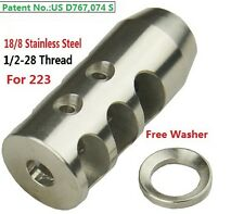 Stainless Steel 1/2x28 Thread 223 Short Competition Muzzle Brake Crush Washer