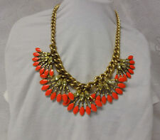 Vintage Signed Stella & Dot Massive Chunky Runway Rhinestone Orange Necklace