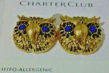 OWL EARRINGS BLUE GLASS EYES GOLD TONE