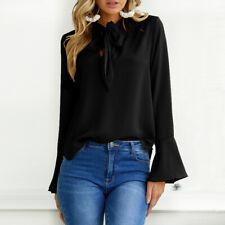 ZANZEA Women Bell Sleeve V Neck Bowknot Loose Shirt Tops Blouse Wear To Work Top