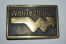 Vintage WELL TECH INC Logo OIL WELL Solid Brass Belt Buckle Rare