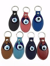 Turkish Leather Evil Eye Key Chain for Protection and Good Luck #1006