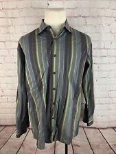 Perry Ellis Men's Gray Brown Green Stripe Dress Shirt Large $65