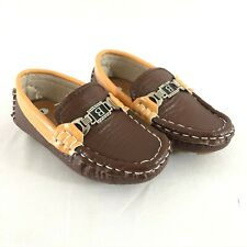 Toddler Boys Loafers Slip On Dress Shoes Faux Leather Brown Size 7