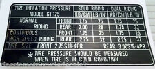 SUZUKI GT125 TYRE PRESSURE CAUTION LABEL