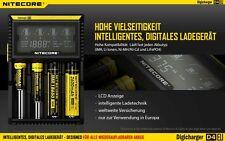Nitecore Digicharger D4 EU  - Inteligentes Ladegerät für Li-Ion, LiFePo4, Ni-MH