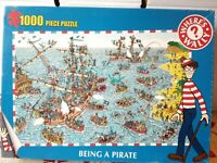 Wheres Wally Being A Pirate 1000 Piece Jigsaw Puzzle Complete Wheres Waldo Ship