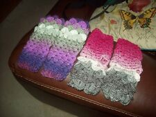 HANDMADE CROCHET DRAGON SCALE FINGERLESS GLOVES ASSORTED COLOURWAYS