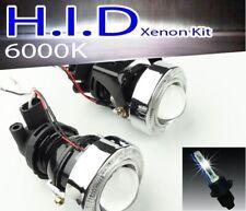 "3"" BUMPER HALO PROJECTOR LED FOG LIGHT ANGEL EYES W/ YELLOW 6000K H11 HID KIT"