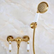 Bathroom Gold Brass Wall Mount Handheld Shower Faucet Dual Handle Mixer Tap