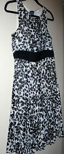 Size 8 White & Black Dress Sheer Lined Pleated Willa Waters Design