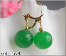 12mm Green Jade Emerald Gemstone Yellow Gold Plated Dangle Earrings New