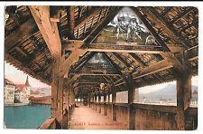Switzerland, Lucerne, Interior of Chapel Bridge PPC 1912 PMK to Bedfordshire, UK