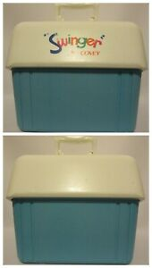 SWINGER by COVEY Vintage COOLER Ice Box 1970's Blue White Picnic Camping Party