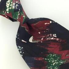 PIERRE CARDIN BLACK RED Green ART DECO Abstract Silk Men Necktie H2-431 EUC Ties