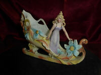 Antique KISTER CABINET SHOE Rare 1880s German Porcelain Flower Fairy Sleigh Sled