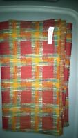 """Remnant Fabric Polyester Plaid Stretch Knit 60"""" x 26"""" Red Orange Multi Colored"""