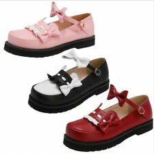 Ladies Mary Janes Womens Bowknots Round Toe Ankle Strappy Buckle Pumps Shoes D