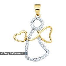 Guardian Angel Diamond Gold Pendant .12 carats 10K love saint healing protection