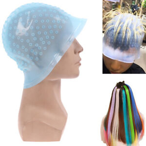 Silicone Hair Styling Coloring Cap + Hook Needle Color Dye Highlighting Dye *wf