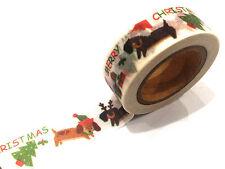 1PC NEW Japanese Washi Tape Craft Sticker, Christmas Sausage Dog Dachshund Puppy