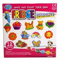 12pc Mould&Paint Fridge Magnets Set Kids Art Craft Fun Toy Activity Rainbow Sun