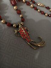 Handcrafted Goldtone Fancy Shrimp Red Rhinestones Faceted Carnelian Necklace Set