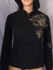 Miss Me Colection Embellished Black Cotton Zip-up Hooded Jacket/Hoodie, S