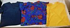 3 Vtg Laura Winston Blouse Tops Womens Sz S Yellow Blue Floral Silky Soft Fabric
