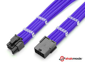8 pin to 6+2 pin Pcie Purple Sleeved Extension 30cm 2 Free cable Combs Shakmods