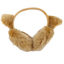 Weather Fuzzy Furry Cat Ear Muffs Lux Accessories Tan Trendy Winter Cold