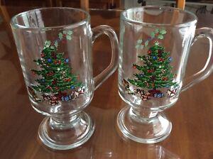 CHRISTMAS TREE / HOLLY by Cristal d'Arques - Irish Coffee Mug (Set of 2)