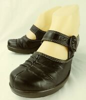 Bare Traps Wos Shoes Heel HUNTLEY US 7M Black Leather Buckle Mary Jane Mules 226