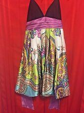 City Triangles Halter Dress Size 5 Black Top Purple Cumberbun Floral Skirt