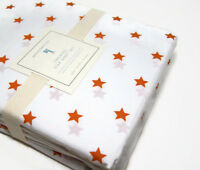 Pottery Barn Kids Organic Cotton Orange Scattered Stars Star Queen Sheet Set New