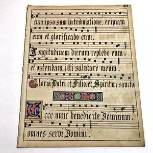 Hand Illuminated Latin Music Sheet - Circa 1600-1700's - German Scriptorium - A