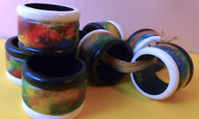 8 NAPKIN RINGS Hand Painted ABSTRACT Design NEW