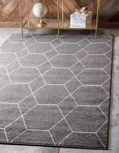 Unique Loom Trellis Frieze Collection Lattice Moroccan Geometric Modern Dark Gra
