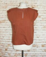 size 10 vintage 80s boxy loose summer top cap sleeve y-neck pockets rusty brown