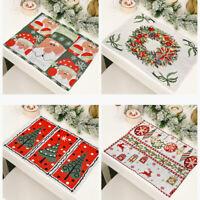 4x Christmas Table Mats Tapestry Placemats Reindeer Santa Xmas Decor Cute Modern