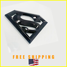 1pc DETAILED SUPERMAN Emblem Badge Logo Trunk Fender Glossy Black SUPER MAN 3D