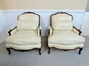 FAIRFIELD DOWN CUSHION FRENCH STYLE LEATHER BERGERE CHAIRS