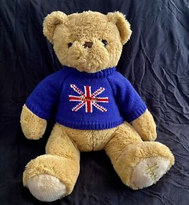 "Harrods Knightsbridge Plush Teddy Bear w/Union Jack Flag on Blue Sweater 16""."